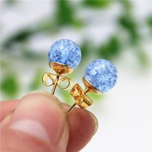 Crackled Faux Pearl Stud Orb 3mm Ball Earrings
